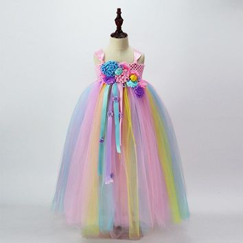 Pastel Rainbow Girls Unicorn Tutu Dress