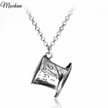 MQCHUN Alice In Wonderland Hat Low Mad Hatter Hat Vintage Antique Silver Color Pendant Necklace High Quality collars Necklace