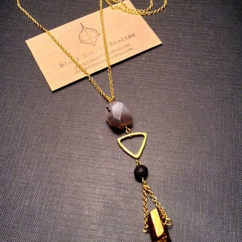 Gold titanium Quartz Necklace // Agate stone Long Boho Necklace// Raw STONE Jewelry // Mystic Geometric triangle  //Gift idea for her