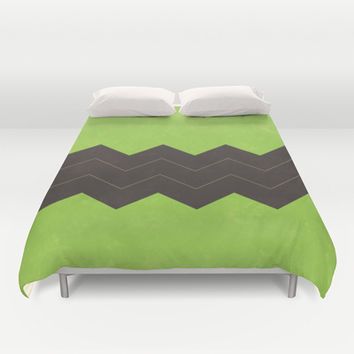 Lime Green and Dark Grey Chevron Duvet Cover by Kat Mun | Society6