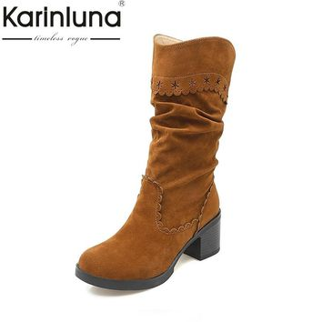 KARINLUNA Large Size 33-43 Vintage Brogue Boots Square Med Heels Winter Shoes Women Add Fur Fashion Slip On Riding Boots Woman