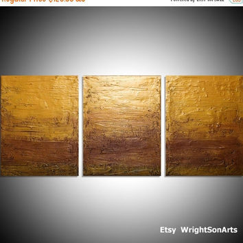 "LARGE affordable WALL ART triptych 3 panel wall contemporary ""Gold Triptych"" canvas original painting abstract canvas pop kunst 27 x 12"""