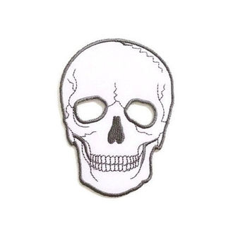 Skull Head Ghost White Color Halloween New Iron On Patch Embroidered Applique Size 7cm.x9.5cm.