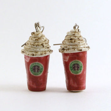 Starbucks Coffee Dangle Christmas Earrings 2010 by JegasCreations