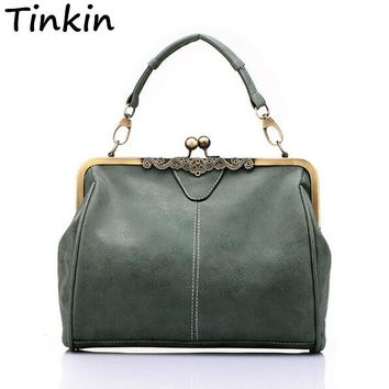 Tinkin British Vintage Hardware Matte Women Messenger Bags Women Handbag Crossbody Bag Classical Frosted Shoulder Bag