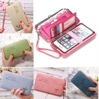 Women Lady Leather Wallet Purse Long Handbag Clutch Box Phone Bag Card Holder.