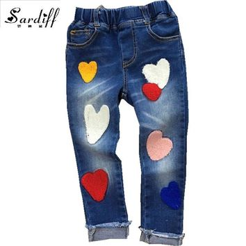 Sardiff 2017 Kids Jeans Pants Stretch Skiny Jeans Trouser For Teens Girls Casual Heart-Shape Trouser Colorful Bottom Set