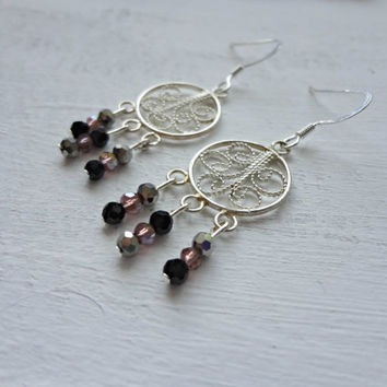 Purple, Black and Grey Beads on Wire Design Earrings