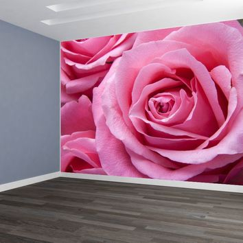 Pink Rose Huge Custom Designed Wallpaper Peel and Stick