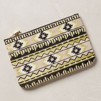 Golden Desert Embroidered Pouch by Anthropologie Neutral One Size Clutches