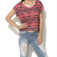 Tribal Pointelle Knit Tee | Shop Just Arrived at Wet Seal