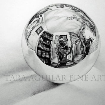 Glass Ball Pencil Art Drawing Print, Black and White Art Print, Pencil Drawing Print, Graphite Drawing Print