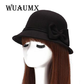 [Wuaumx] Fall Winter Bucket Fedoras Hat Women'S Hat Dome Cloche Bowknot Top Hat For Lady Girl Floppy Cartola Female Bowler Cap