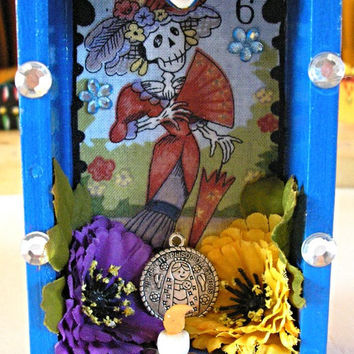 Day Of The Dead Nicho-Dia De Los Muertos-Loteria-Shrine-Retablo