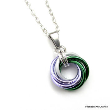 Genderqueer pride chainmaille love knot pendant; lavender, white, and green
