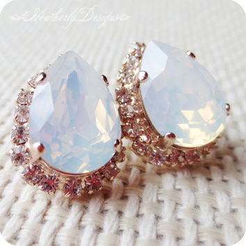 Luxuriant: white opal and crystal diamond swarovski  crystal rose gold post pear statement earrings - bridal collection bridesmaid gift