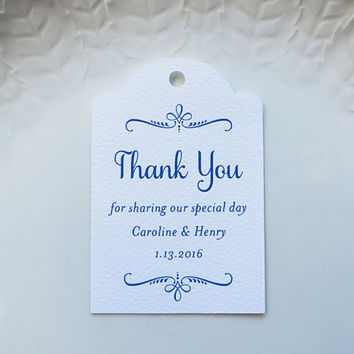 Navy Blue Wedding Favor Tag, Personalized Gift Tags or Baptism Tags, Custom Labels, Custom Thank You Tag, Other Colors Available -Set of 20