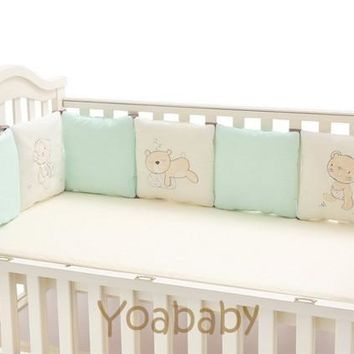 6-14Pc/Lot Infant Crib Bumper Bed Protector Baby Kids Cotton Cot Nursery bedding three baby bear Bear Monkey Pilliow Cushion