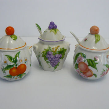 Jam Jars Lenox Fine Porcelain/Marmalade/Grape/Peach
