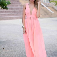 Peach Plunge Neck Cutout Bust Sleeveless Maxi Dress