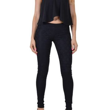 Junior's Front Lace Overlay Slim Legging Pants