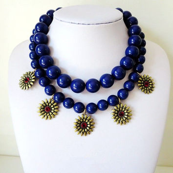 Navy Blue 2 Layers Necklace, Beaded Necklace, Bib Necklace, Statement Necklace, Broze Sun Flower ,Bubble Necklace, bridesmaid birthday gift