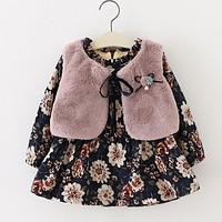 Fall Winter Wear Brand 2017 New Baby Girls Clothes Long-sleeved Floral Plus Velvet Dress+Fur Vest 2Pcs Suit Girls Clothes Sets