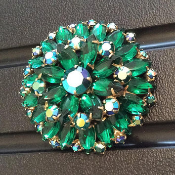 Juliana Brooch, Green Rhinestone Pin, 1950s Vintage Jewelry SALE