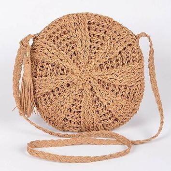 The Sun Straw Round Purse Yellow Natural
