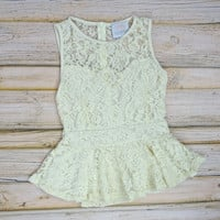 Sleeveless Lace Peplum Top - Ivory | .H.C.B.