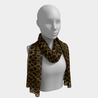 Golden Brown Scissor Stripes Long Scarf
