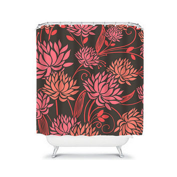 CUSTOM You Choose Colors Brown Coral Pink Dahlia Flower Floral Bathroom Bath Shower Curtain Polyester Made in the USA