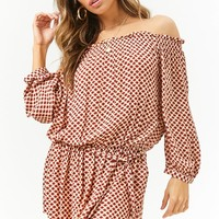 Mandala Print Off-the-Shoulder Mini Dress