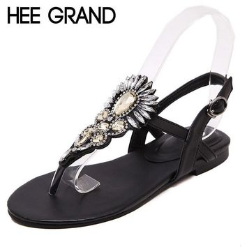HEE GRAND Flip Flops Women Flat Sandals Bling Crystal Casual Shoes Woman 2017 Summer B