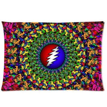 Colorful Grateful Dead 20X30 Two Sides Custom Cotton & Polyester Pillow Case Cover Cushion Cover Model: CHH-0346 (Build-to-Order)