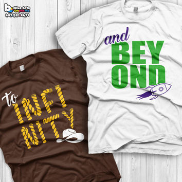 To Infinity and Beyond Shirts Disney Couples Shirts Toy story Custom Matching Shirts Couple T-shirts vacation shirts