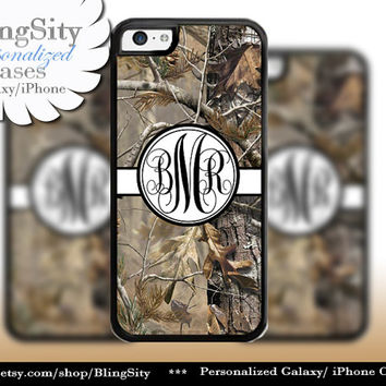 Camo Black Monogram iPhone 5C 6 Plus Case iPhone 5s 4 case Ipod Realtree Personalized Country Inspired Girl