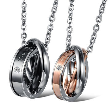 One Pair Fashion His & Hers Jewelry Stainless Steel Matching Set Three Rings Love Couples lovers Necklaces Set = 1929881476