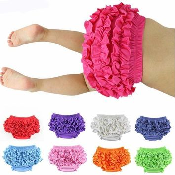 Baby Boy Girls Underpants Cotton Shorts Pants and Briefs Ruffle Bloomers Diaper Covers Newborn Baby Photograph Props Pink Coffee