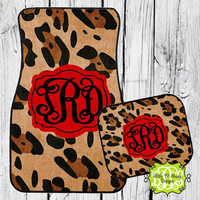 Car Mats Animal Print Leopard Personalized Monogrammed Floor Car Mat Initial Red