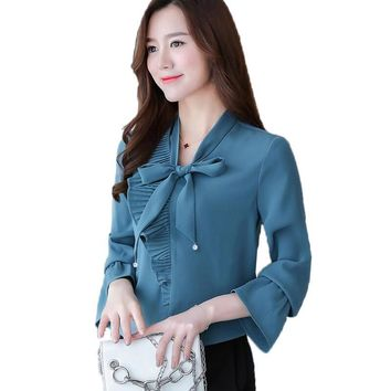 2017 Autumn Women Blouses Long Sleeve Casual Chiffon Blouse Female Bow Lace-up Ruffles Work Wear Office Shirts for Women Tops