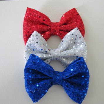 4th of July Patriotic hair bows on alligator clip. Sparkly sequin bows. Stars and Flags. Perfect for Memorial Day & 4th of July!