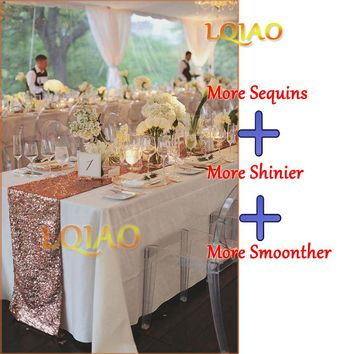 10pcs 14x96inch Luxury Rose Gold Sequin Table Runner for Wedding Decoration Birthday Party Supplies Glitter Gold Table Runners
