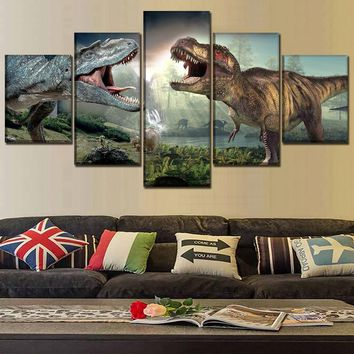 5 Piece Jurassic World 2 Dinosaurs Pictures Modern Wall Art Painting Home Decor