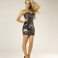 Black & Gunmetal Sequin & Mesh Strapless Short Homecoming Dress - Unique Vintage - Cocktail, Pinup, Holiday & Prom Dresses.