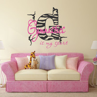 Gymnastics Is My Sport Decal, Zebra Decor, Zebra Stripe Decal, Gymnastics Wall Decal, Girls Zebra Bedroom, Zebra Theme