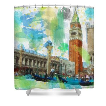 Watercolor Of Venice San Marco Grand Canal - Shower Curtain