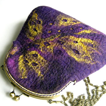 Hand felted purple bag  purse  pouch  metal frame purse, wool felted, violet, yellow,