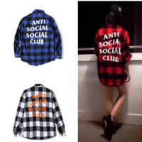 ASSC Plaid long sleeve buckle shirts casual sports blouse