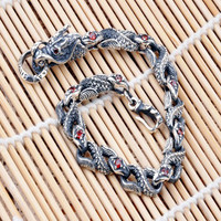 .925 Sterling Silver Mighty Dragon Bracelet Diamond Bracelet for Women or Men's Jewelry